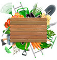 wooden board with garden accessories vector image vector image