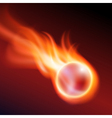 Flying flaming ball on dark background vector image