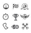 Race icons set Speedometer helmet and cup vector image