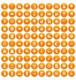 100 lumberjack icons set orange vector image vector image