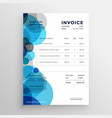 abstract blue circle invoice template design vector image