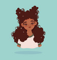 african american girl long hair curly portrait vector image