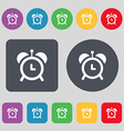 alarm clock icon sign A set of 12 colored buttons vector image vector image