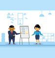 asian business man and woman holding presentation vector image vector image