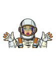 astronaut woman surprised pop art vector image vector image