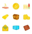 Bank and money icons set cartoon style vector image vector image