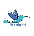 Blue soaring hummingbird or colibri symbol vector image vector image