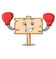 boxing wooden board character cartoon vector image vector image