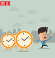 Business man run ahead the clock - - EPS10 vector image vector image