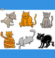 cartoon cats and kittens comic characters set vector image vector image