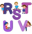cartoon kids with rstuv letters vector image vector image