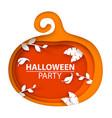 cartoon paper pumpkin leaf branch vector image