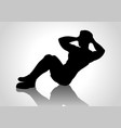 cartoon silhouette of a man doing sit up vector image vector image