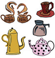 colored drawn picture with coffee and tea stuff vector image vector image