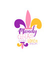 creative colorful flat mardi gras holiday logo vector image vector image