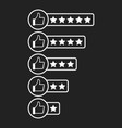 customer review icon thumb up with stars rating vector image vector image