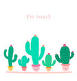 cute cactus plant with happy faces in pots vector image