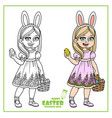 cute girl in rabbit ears and with baskets of vector image
