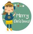 cute winter girl holding candy cane merry vector image vector image