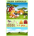 Farm theme with animals and field vector image vector image
