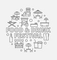 food and drink festival round concept linear vector image