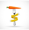 fork with vegetable carrots and a measuring tape vector image