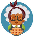 funny grandmother holding apple pie cartoon vector image vector image