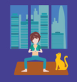 Girl is doing yoga at home Healthy lifestyle vector image vector image