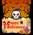 halloween background card with scytheman vector image vector image