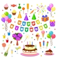 Happy birthday party symbols vector image