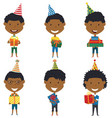 happy cute african-american boys carrying vector image vector image