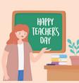happy teachers day teacher lesson desk chalkboard vector image vector image