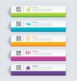 infographics tab in horizontal paper index with 5 vector image
