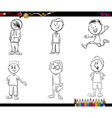kid boys set coloring book vector image