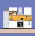 kitchen modern interior apartment design vector image vector image