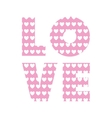 love word with heart shape vector image vector image