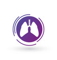 lung purple gradient icon in futuristic circle vector image