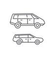 minivan thin line icon concept minivan linear vector image vector image