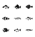 Ocean fish icons set simple style vector image vector image