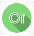 plate with spoon and fork icon vector image vector image