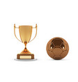 realistic golden trophy cup with gold ball winner vector image vector image