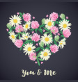 romantic card with floral heart vector image
