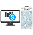 Sales Chart Monitoring Icon with 1000 Medical vector image vector image