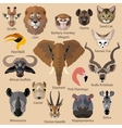 set african animals faces isolated icons flat vector image