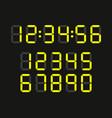 set digital clock led numbers vector image vector image