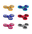 set of color finger spinners isolated on white vector image vector image