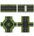 Set of different sections of the highway with a vector image vector image