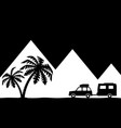 silhouette of the car and palm trees vector image vector image