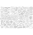 smart city background from line icon vector image vector image