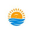 sun and sea icon beach vacation travel symbol vector image
